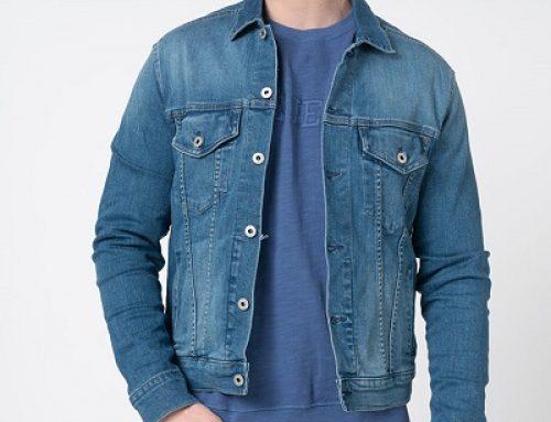 Geacă de blugi Pepe Jeans HGF37Y Hunter bărbați casual scurtă albastră