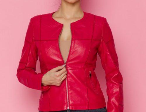 Geacă de damă Lillian GLQ5U Andie roșie scurtă din piele ecologică cu inserție tull