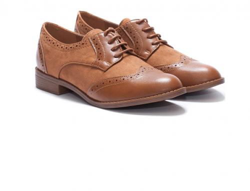Pantofi de damă Margot DL5YQ Fely casual maro cu șiret, perforații și talpă plată
