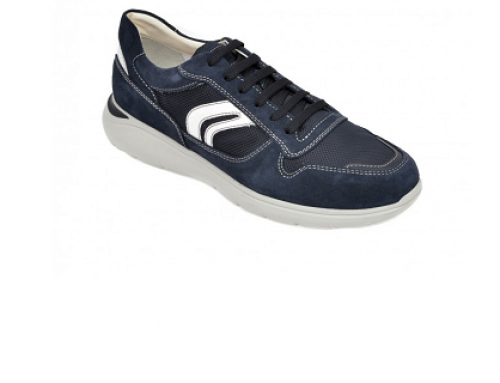 Pantofi sport Geox HNU5Q Owais pentru bărbați, bleumarin, din piele întoarsă