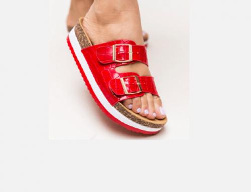 Papuci roșii Scarlett GQMKD Aly de damă casual cu catarame din piele ecologică