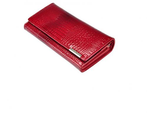 Portofel de damă Willow HNQD roșu elegant din piele naturală cu capsă metalică