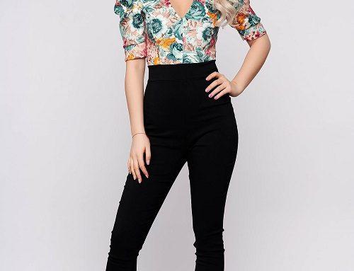 Salopetă de damă Gianna FLQ5UB SunShine casual cu imprimeu floral și mâneci scurte