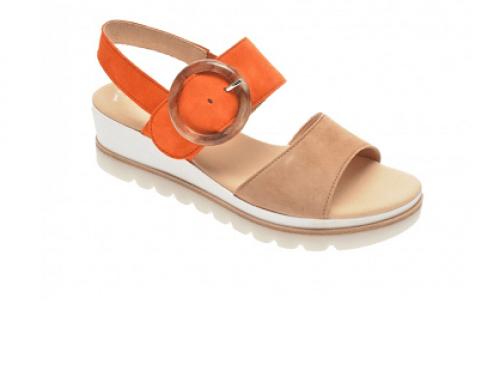 Sandale de damă Gabor FN2QL Eliana casual din piele întoarsă și cu talpă plată
