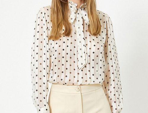 Bluză damă Juliana HU2G Koton albă vaporoasă cu buline negre și fundă la guler