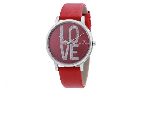 Ceas de damă Daniel Klein NDQ5UH Trendy roșu cu brățară din piele, Quartz, 3ATM