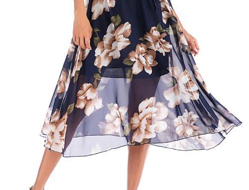 Fustă casual Angela NQ5KU Destiny albastră cu imprimeu floral și talie elastică