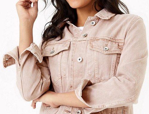 Jachetă damă Marks & Spencer DQ5UH Daisy casual din denim scurtă roz prăfuit