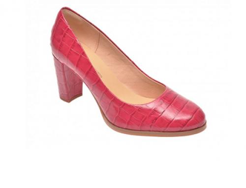 Pantofi de damă Clarks UQ5B Marlen office cu toc gros Slip-On din piele naturală roz