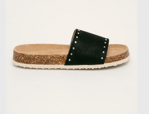 Papuci damă Big Star LDQ5H Liron casual negri cu toc plat și ștrasuri aplicate, căptușiți cu piele naturală