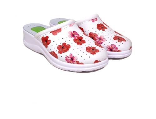 Papuci medicinali Brielle DS4UQ damă cu talpă ortopedică din piele naturală albi cu gel