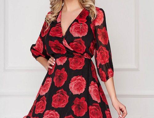 Rochie casual Evelynn GBQ5H roșie din voal cu imprimeu floral, decolteu în V și mâneci 3/4