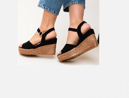 Sandale cu platformă Alyssa FU5TQ Sparkie de damă casual negre cu toc de 10 cm