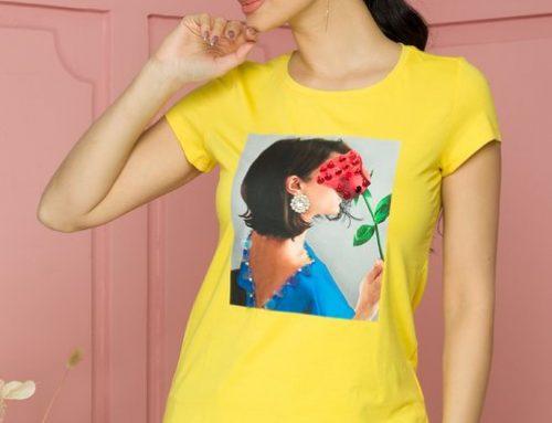 Tricou din bumbac Sunny LDH5Q de damă casual galben cu imprimeu și mărgele