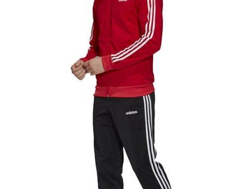 Trening bărbați Adidas Performance GH4U Lorenzo roșu lejer cu fermoar, dungi și buzunare practice