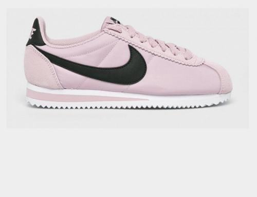 Pantofi sport Nike WLU5N de damă cu piele naturală, roz violet, cu talpă plată, Classic Cortez