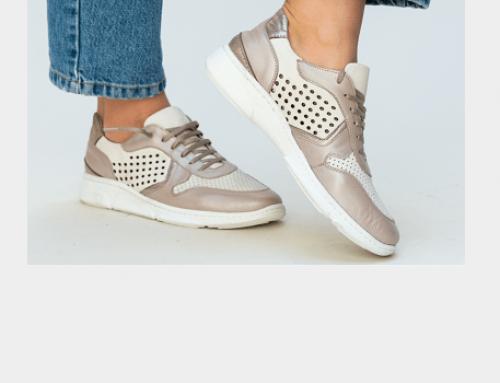 Pantofi sport de damă Oriana DLP5UQ din piele naturală, bej, cu talpă plată Melody