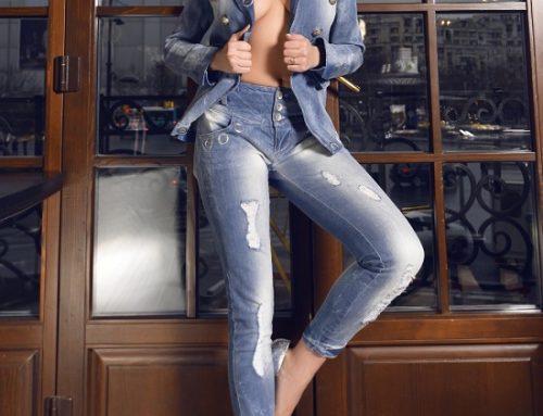 Blugi de damă Viviana EDVQ5H casual mulați albaștri prespălați și cu rupturi decorative