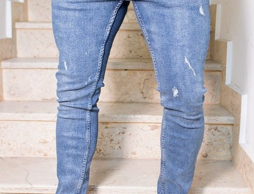 Blugi elastici Guthrie FBW5L pentru bărbați, cu uzură decorativă, albaștri, model stretch fit