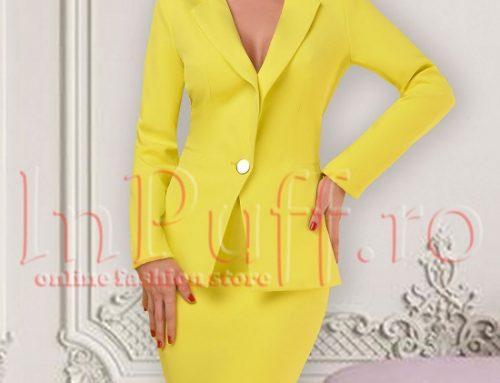 Costum damă Allegra BEG5N office galben cu sacou cambrat cu revere și fustă conică, Atmosphere