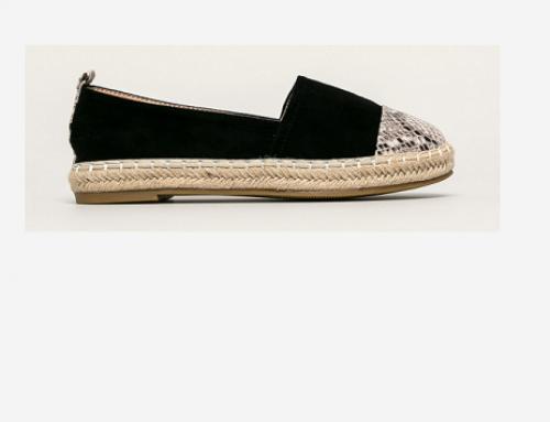 Espadrile de damă Lorelei DXQ5H negre cu talpă joasă și vârf moale, casual, din material textil, Answear