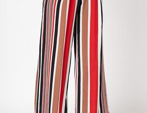 Pantaloni cu imprimeu în dungi Sylvia GLN4U vaporoși și largi, cu talie înaltă și buzunare, Antonia M