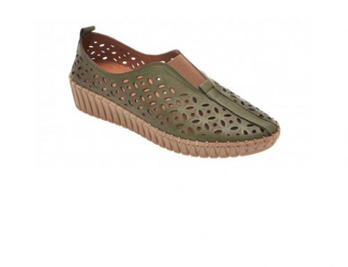 Flavia Passini RDL5UH, pantofi de damă casual fără toc din piele naturală și cu perforații