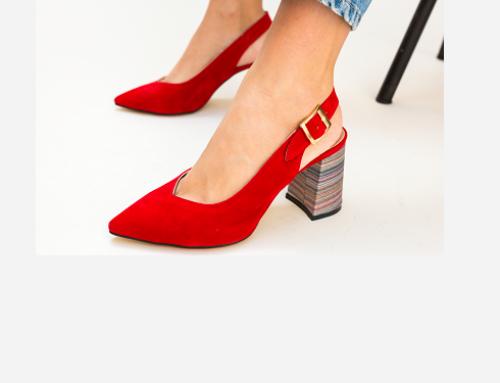Pantofi de damă eleganți Elowen TBG5D roșii cu toc masiv multicolor și vârf ascuțit, Palalama