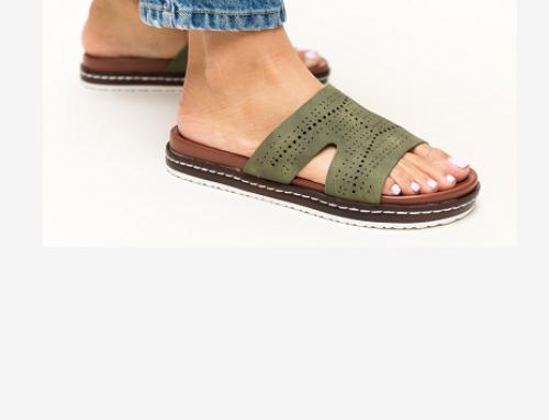 Papuci de damă Selma RFQ5U cu talpă ușoară, joasă și plată, casual, verzi, Greig
