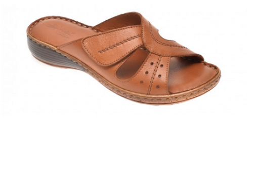 Papuci din piele naturală Milana EDQ2U de damă casual maro, Slip-On, Pass Collection