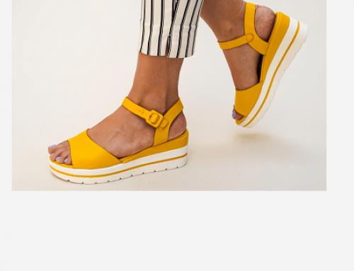 Elvira DLU5TQ sandale cu platformă de damă casual galbene și cu talpă plată, Nedu