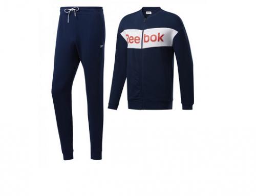 Trening din bumbac Reebok EWQ5U Viggo bărbați albastru cu bluză cu fermoar și pantaloni cu buzunare, Te Linear