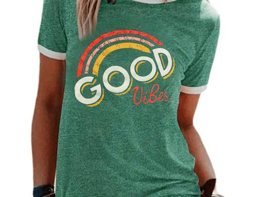 Tricou cu imprimeu curcubeu Cerelia EFQ5N de damă casual lejer verde