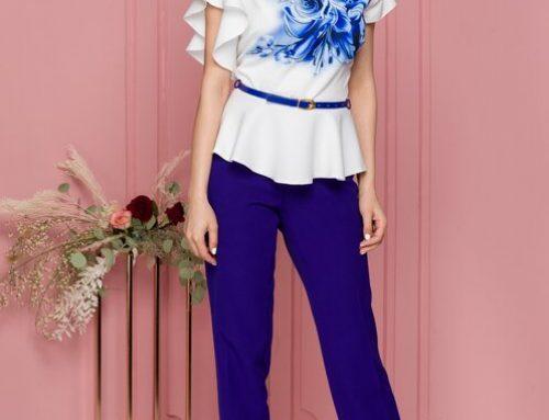 Charlotta LN4EWQ, costum de damă cu bluză cu model floral, pantaloni conici și curea în talie