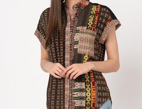 Desigual FLB2NU Alva, cămașă vaporoasă cu mâneci scurte, de damă, casual, cu imprimeu multicolor
