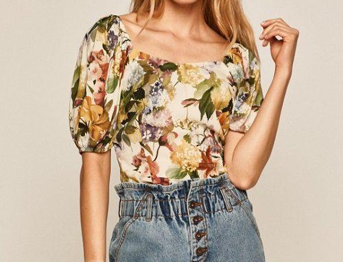 Medicine Solace V5ULQ, bluză de damă casual cu imprimeu floral, decolteu pătrat și mâneci scurte