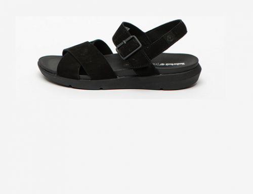 Sandale de damă GFD5L Timberland Cameo casual din piele nabuc cu talpă plată și joasă, negre