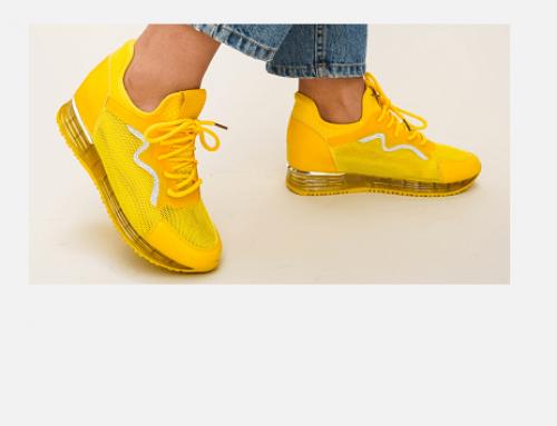 Karmina HEQ5U, pantofi sport de damă galbeni confortabili cu glitter, din material textil