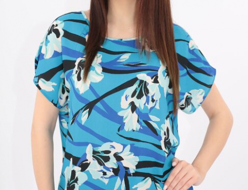 Vieno LFU5EQ, bluză albastră casual, de damă, cu print floral maxi, tiv elastic și mâneci scurte