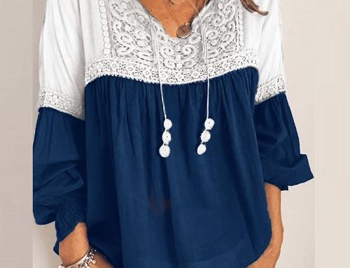 Bluză largă Thora FLH4TQ de damă vaporoasă casual cu dantelă, albastră, stil vintage