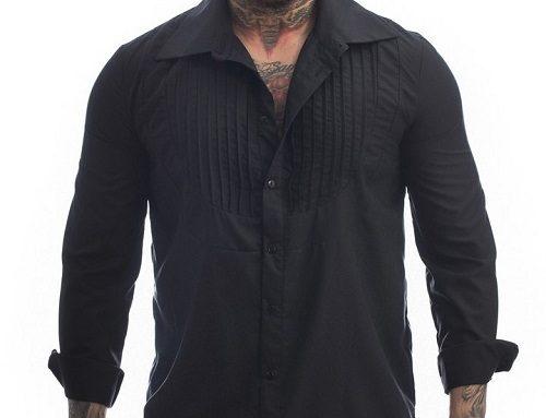 Boomer GH3LU, cămașă casual neagră cu pliuri pentru bărbați, din bumbac și cu mâneci lungi, Orgin
