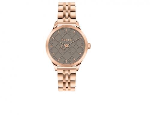 Ceas auriu rose Furla HE5NU Amber de damă cu brățară metalică, 5 ATM, Quartz și carcasă rotundă