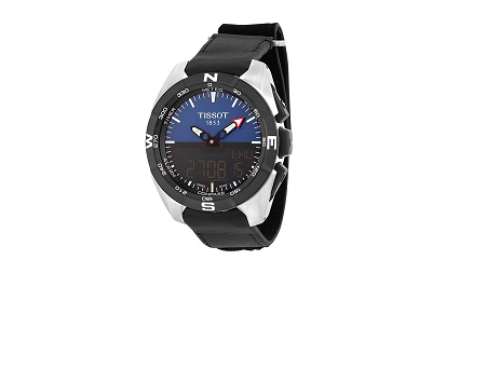 Tissot T091.420.46.041.00, ceas bărbătesc cu display mixt, 10ATM, carcasa din titan și brățară din piele