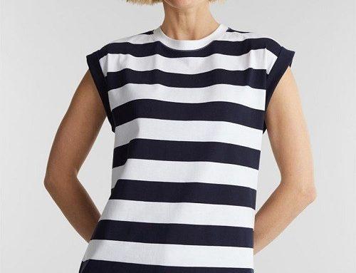 Esprit HS5UT Naila, tricou de damă lejer cu imprimeu în dungi, din bumbac, cu mâneci pliabile