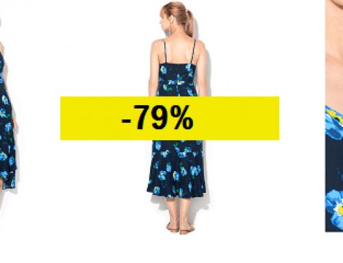 Promoția zilei: Reducere -79% rochie de vară Banana Republic asimetrică albastră cu imprimeu floral și bretele