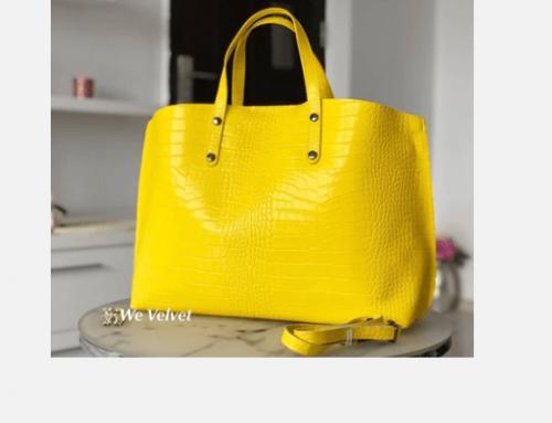 Geantă de damă Shopper Obianna EWQ5N galbenă din piele naturală cu buzunar interior