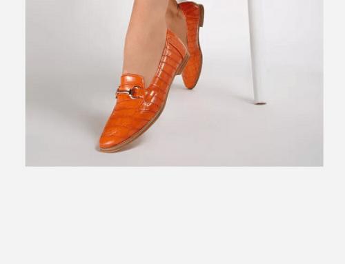 Fenris RLU4WQ, mocasini de damă casual portocalii cu talpă joasă și vârf rotunjit, Darcie