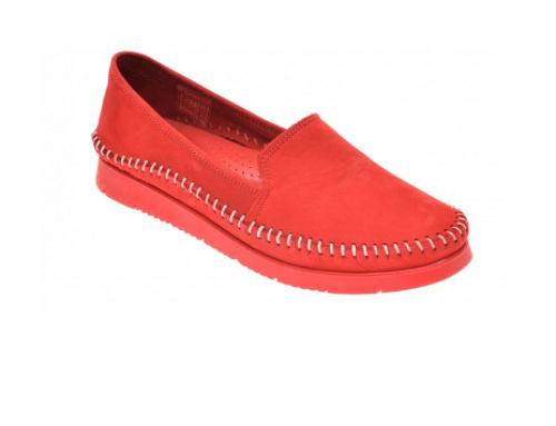 Pantofi cu toc plat L-M5EQ She Fame Ursola de damă casual din piele naturală, roșii, cu talpă joasă