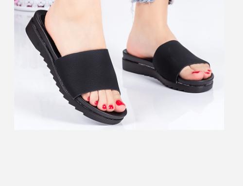 Wadell LNQ4TG, papuci de damă ușori de stradă cu talpă plată și zimțată, negri