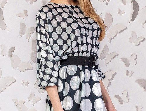 Siriana LHU5BQ, rochie de zi subțire, evazată, cu imprimeu cu buline și curea în talie, PrettyGirl